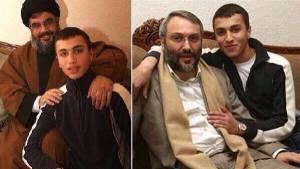Jihad Moughniyah met zijn vader Imad Mughniye en secretaris-generaal van Hezbollah, Hassan Nasrallah.